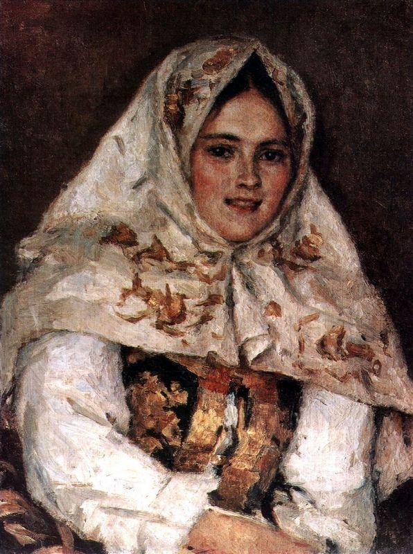 Siberian Beauty. Portrait of E. A. Rachkovsky. - Vasily Surikov