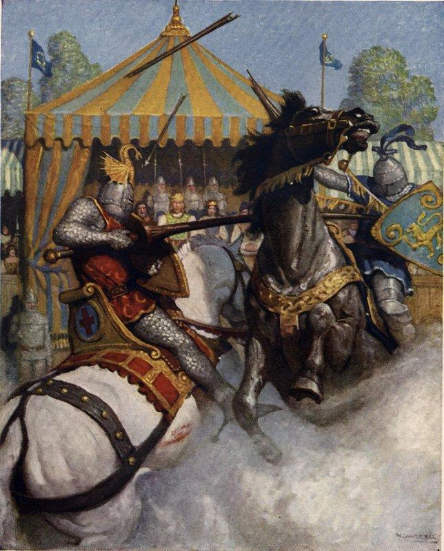 Sir Mador's spear brake all to pieces, but the other's spear held - N.C. Wyeth