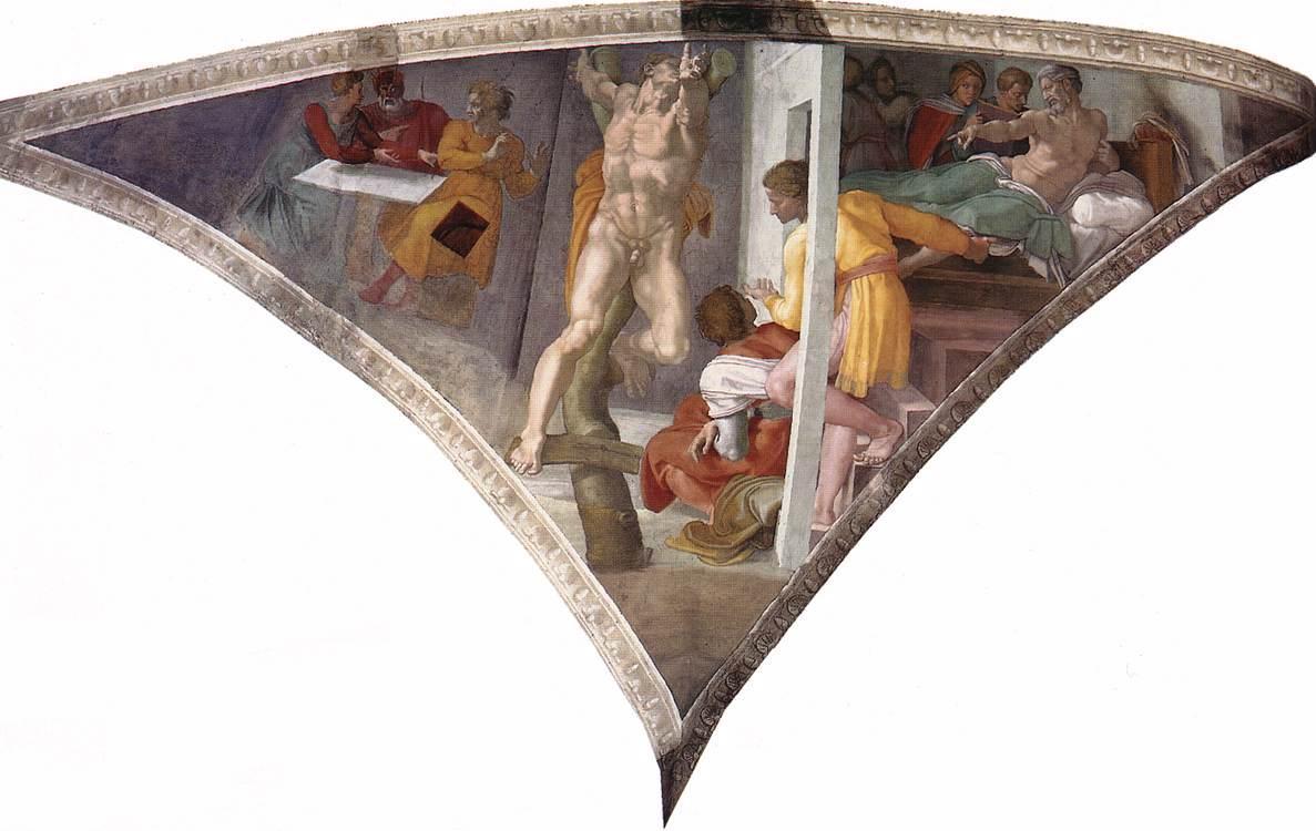 Sistine Chapel Ceiling: The Punishment of Haman - Michelangelo