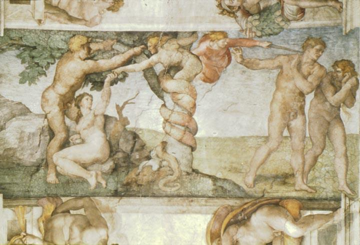 Sistine Chapel Ceiling: The Temptation and Expulsion - Michelangelo