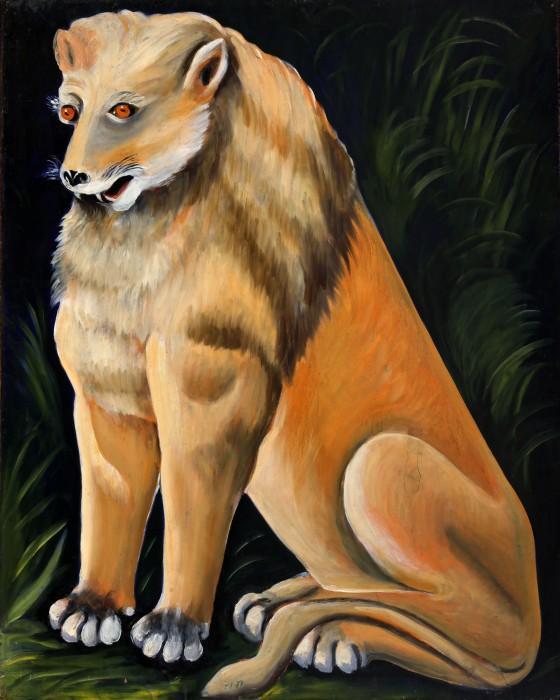 Sitting yellow lion - Niko Pirosmani