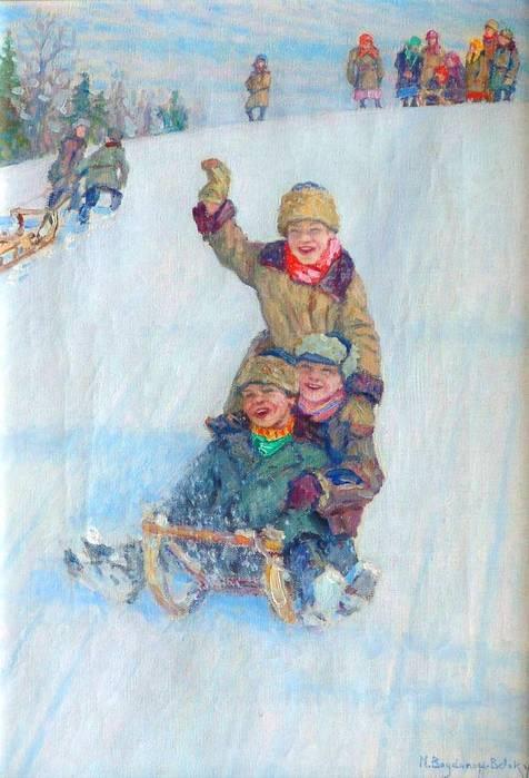 Skating from Mountain - Nikolay Bogdanov-Belsky