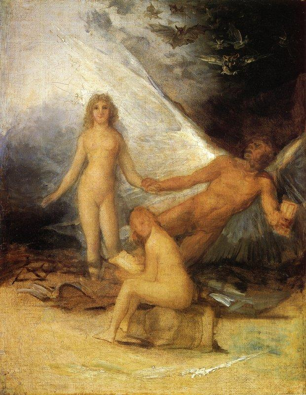 Sketch for Truth Rescued by Time, Witnessed by History - Francisco Goya