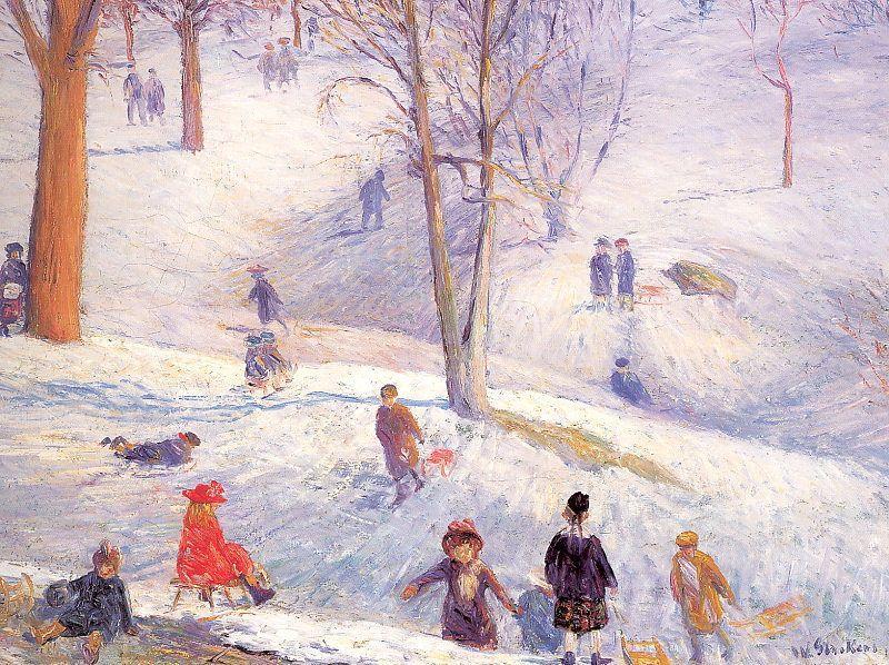 Sledding in Central Park - William James Glackens