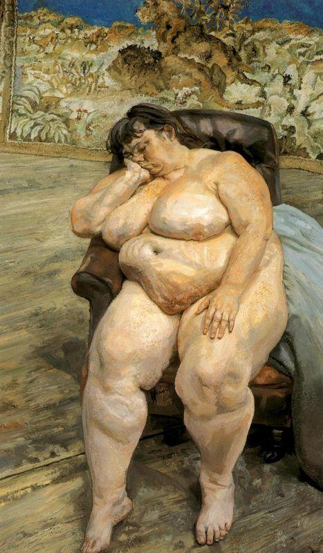 Sleeping  by the Lion Carpet (also known as Sue Tilley) - Lucian Freud