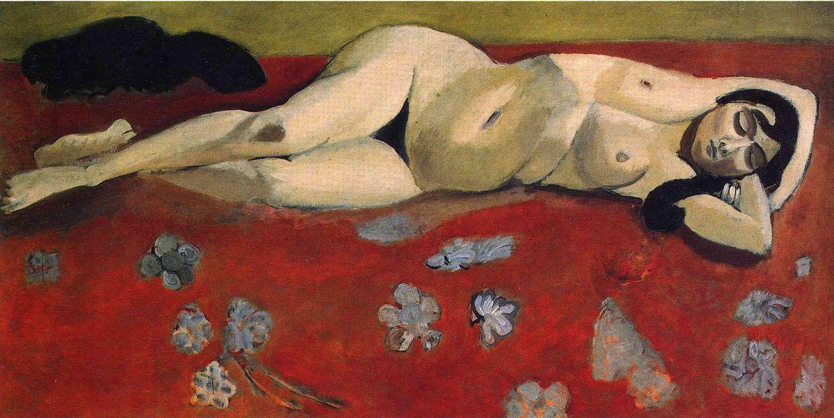 Sleeping Nude on a Red Background - Henri Matisse