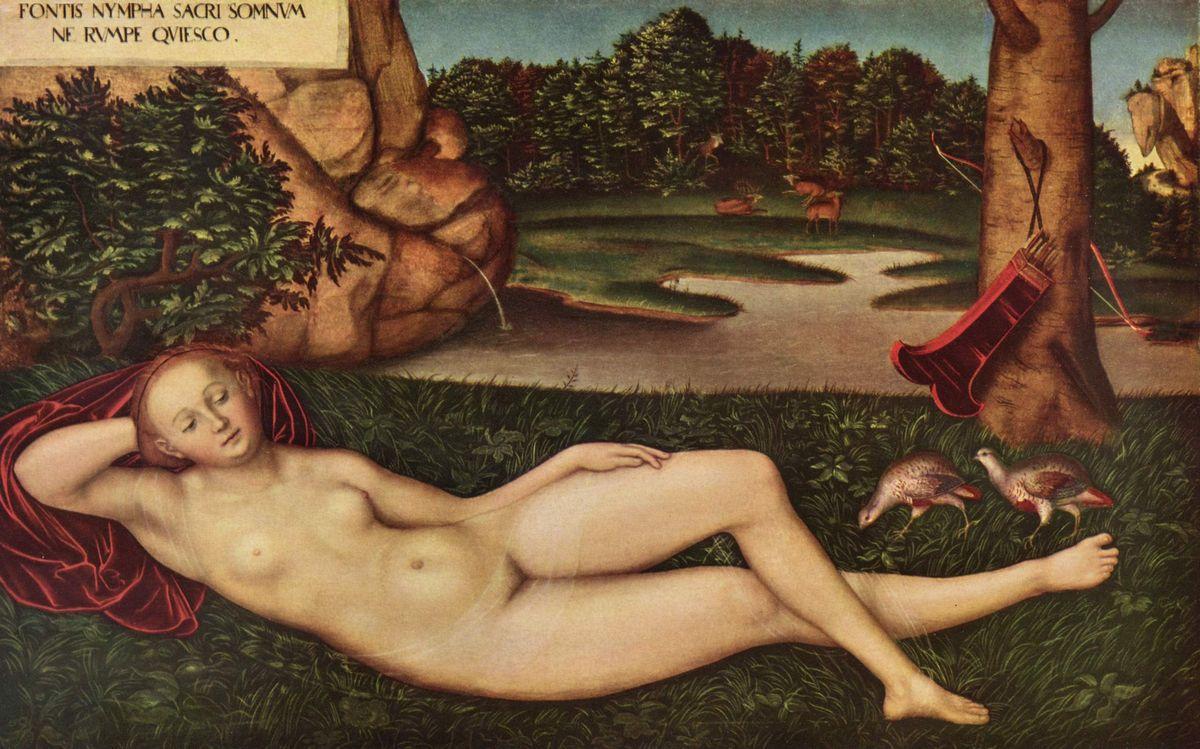 Sleeping Nymph of the Spring - Lucas Cranach the Elder