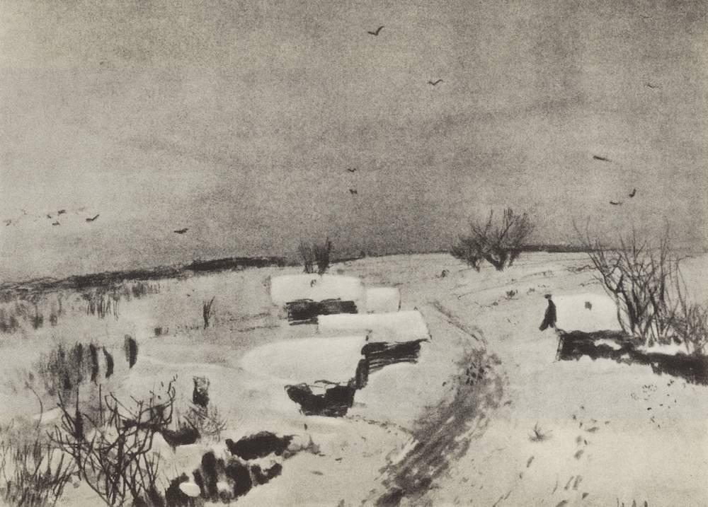Small village under the snow - Isaac Levitan
