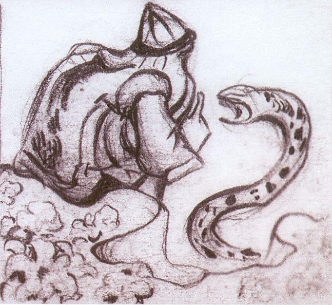 Snakes facing (Whisperer a serpent) - Nicholas Roerich