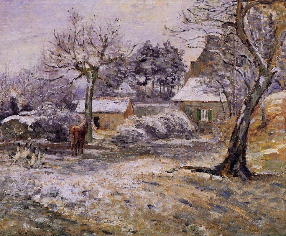 Snow at Montfoucault - Camille Pissarro
