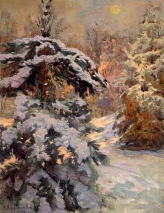 Snow in the Night - Nikolay Bogdanov-Belsky