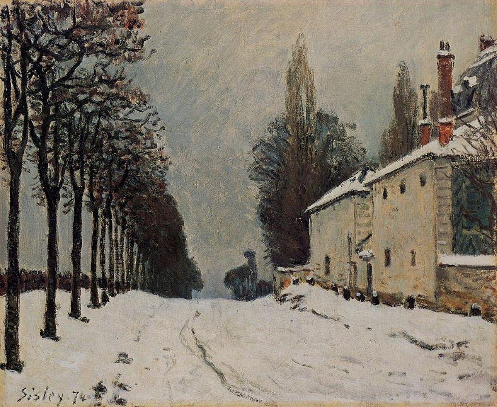 Snow on the Road, Louveciennes (Chemin de la Machine) - Alfred Sisley