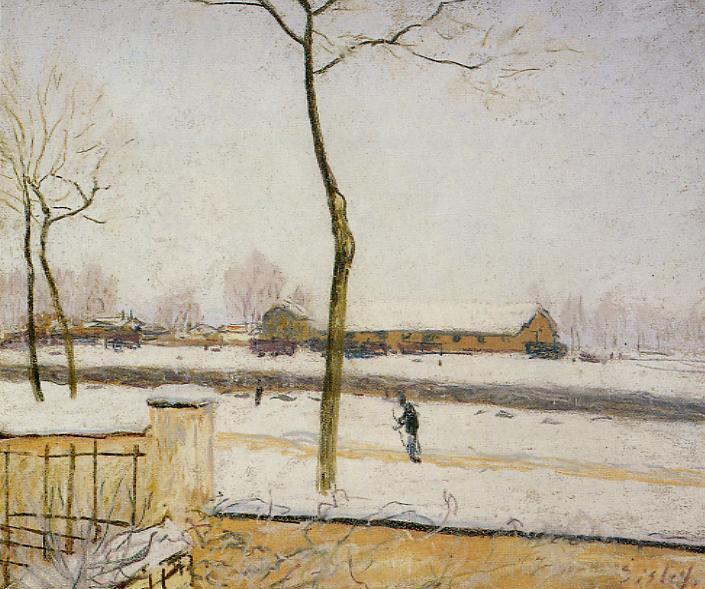 Snow Scene Moret Station - Alfred Sisley