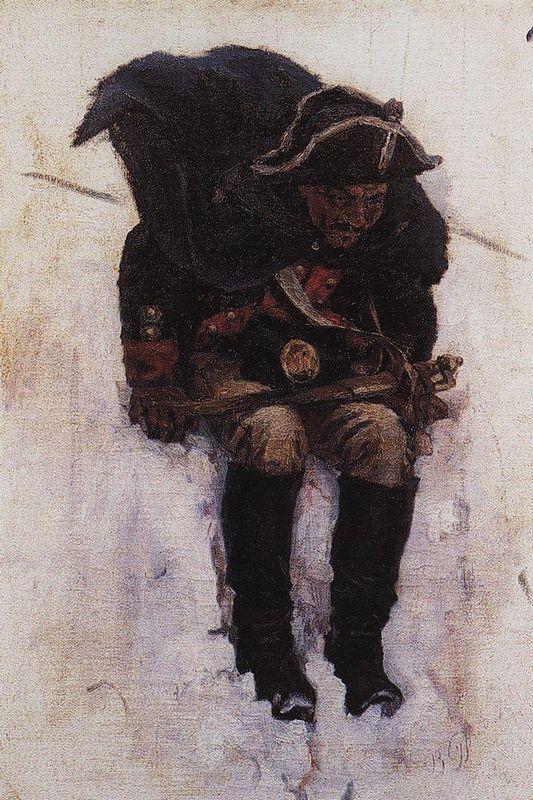 Soldier descending from the snowy mountain - Vasily Surikov