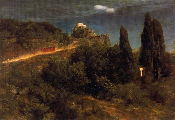 Soldiers amount towards a mountain fortress - Arnold Bocklin