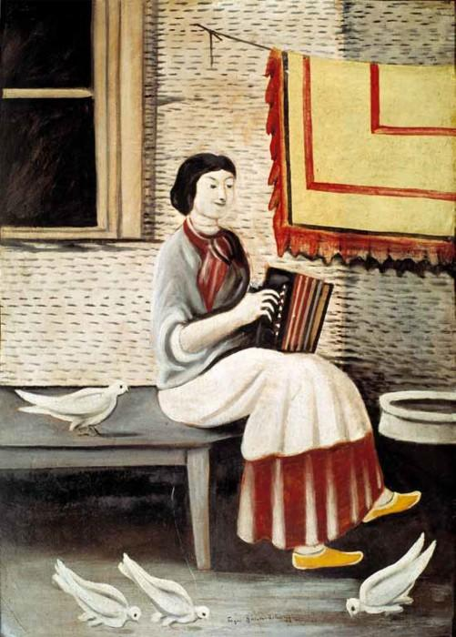 Sona Gorashvili playing accordion - Niko Pirosmani