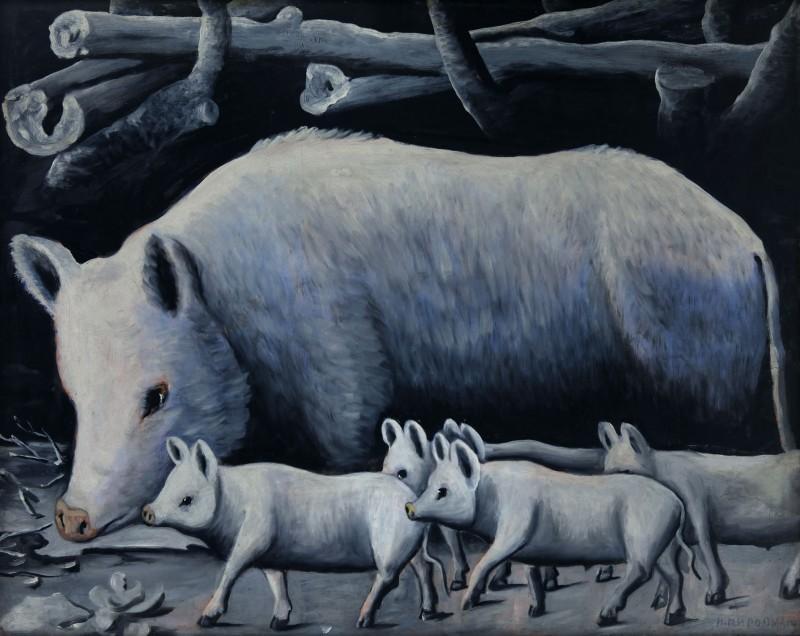 White sow with piglets - Niko Pirosmani