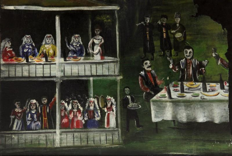 Spree near the two-story house (Extant part of a Picture) - Niko Pirosmani
