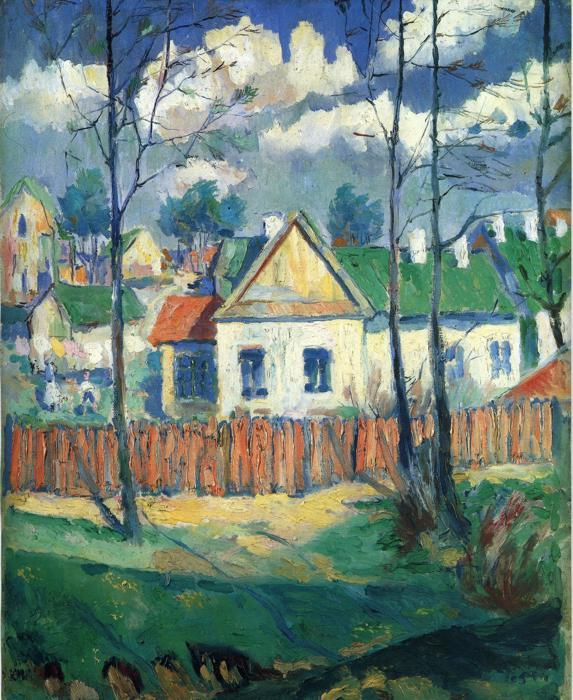 Spring Landscape with a Cottage - Kazimir Malevich