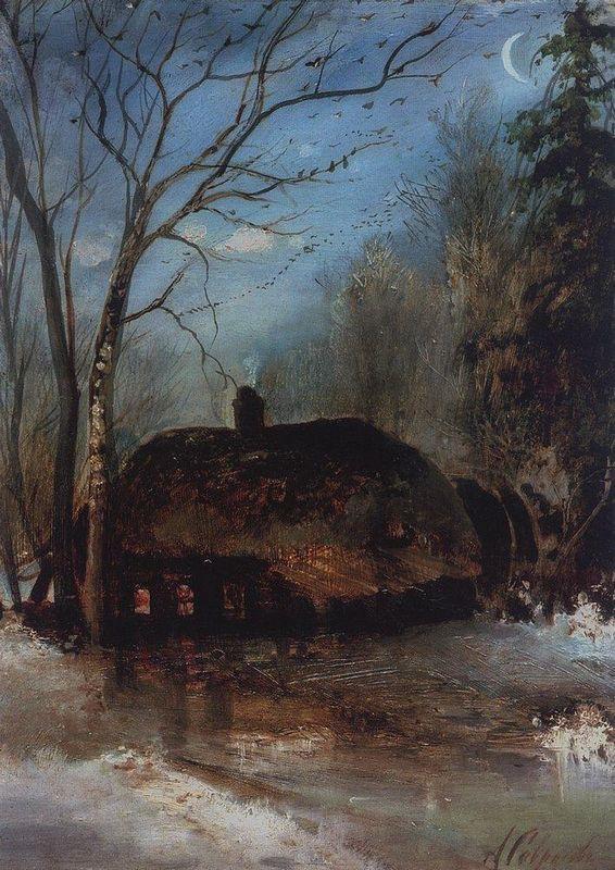Spring landscape with cottage - Aleksey Savrasov