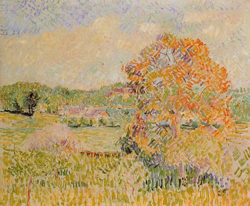Springtime at Eragny (study) - Camille Pissarro