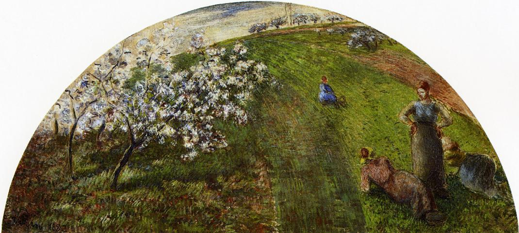 Springtime, Peasants in a Field - Camille Pissarro