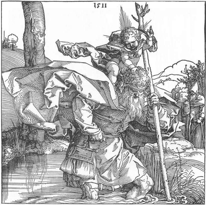 St.Christopher carrying the Infant Christ - Albrecht Durer