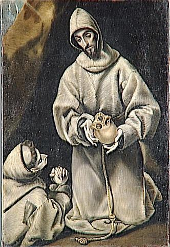 St. Francis and brother Leo meditating on death  - El Greco