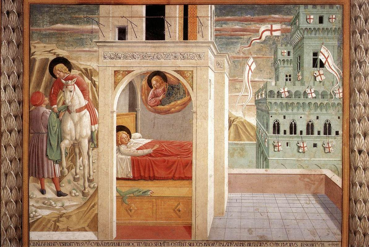 St. Francis Giving Away His Clothes, Vision of the Church Militant and Triumphant - Benozzo Gozzoli