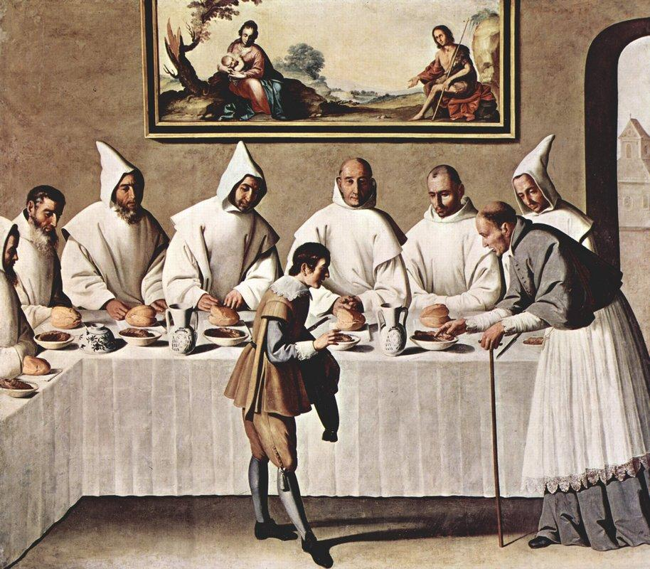 St. Hugh of Cluny in the Refectory of the Carthusians - Francisco de Zurbaran
