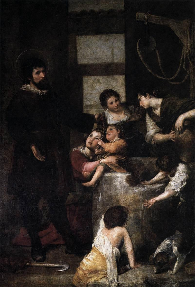 St. Isidore saves a child that had fallen in a well - Alonzo Cano