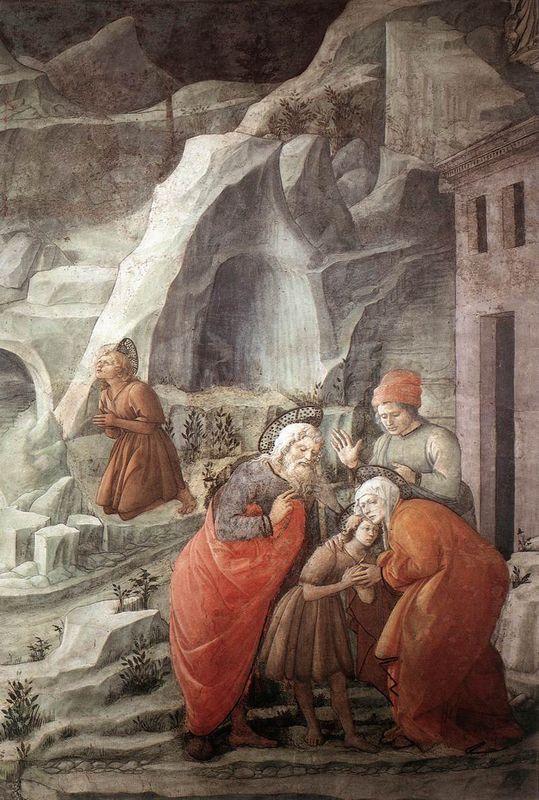 St. John Taking Leave of his Parents (detail) - Filippo Lippi