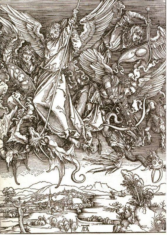 St. Michael and the Dragon, from a Latin edition - Albrecht Durer