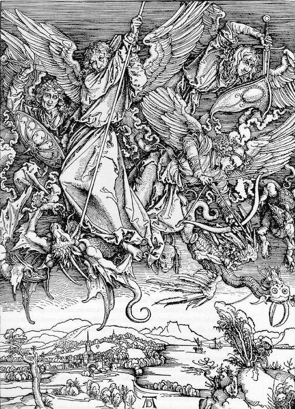 St Michael Fighting the Dragon - Albrecht Durer