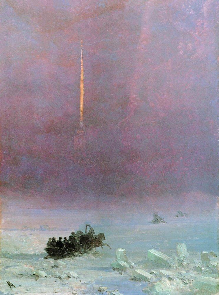 St. Petersburg. The ferry across the river  - Ivan Aivazovsky