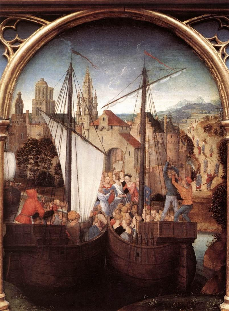 St. Ursula and her companions landing at Basel, from the Reliquary of St. Ursula  - Hans Memling