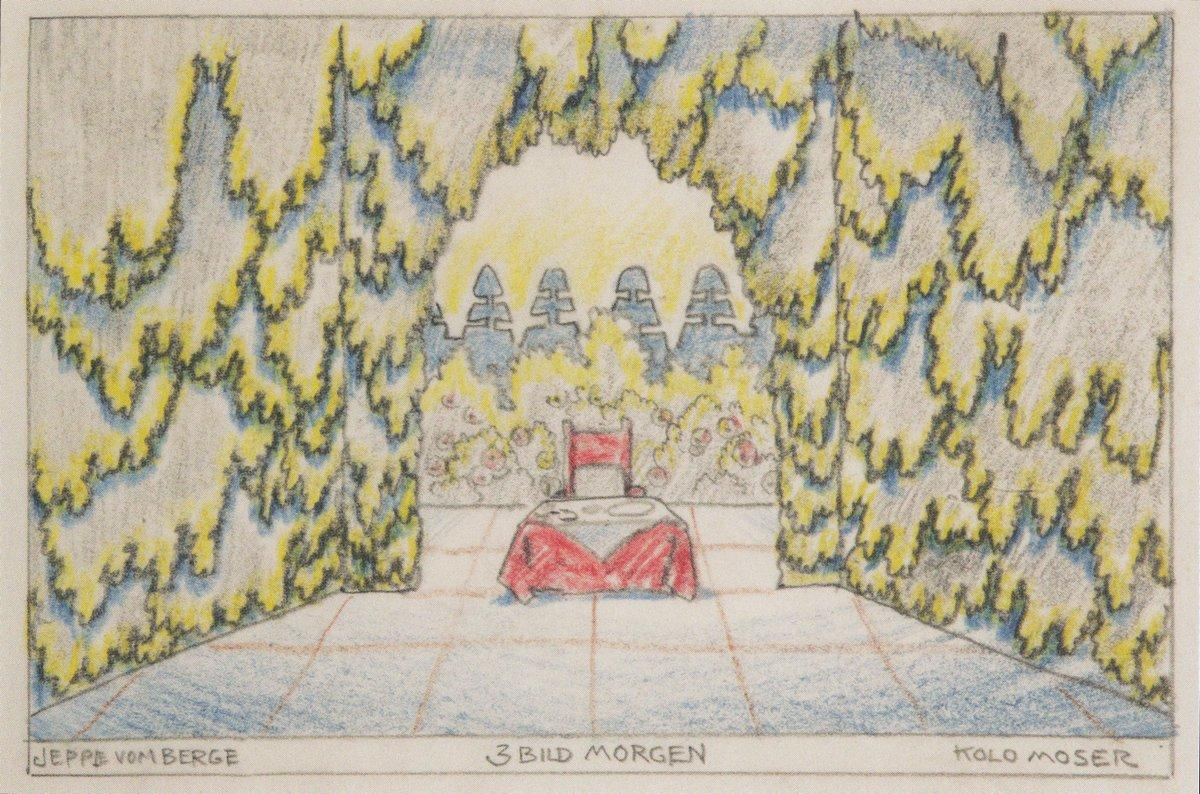 Stage design for 'Jeep from the mountain' of Louis Holzberg, stage 2 - Morning - Koloman Moser