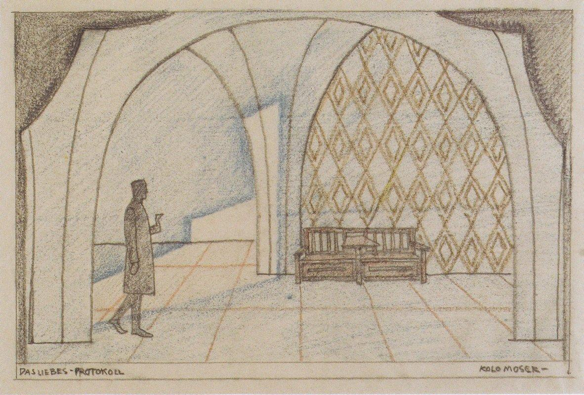 Stage design for 'The minutes of love' by Edward Bauersfeld - Koloman Moser