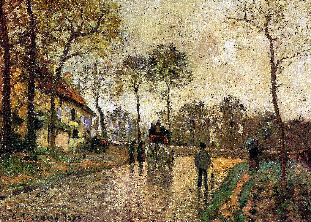 Stagecoach to Louveciennes - Camille Pissarro