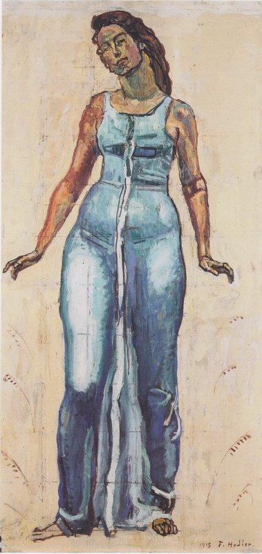 Standing female figure in a blue dress - Ferdinand Hodler