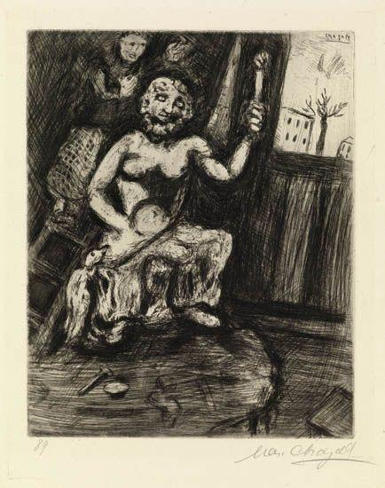 Statuary and the Statue of Jupiter - Marc Chagall