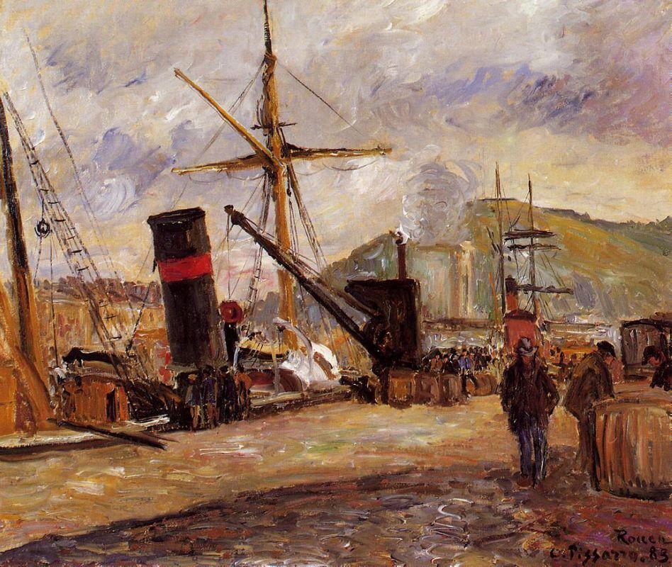 Steamboats - Camille Pissarro