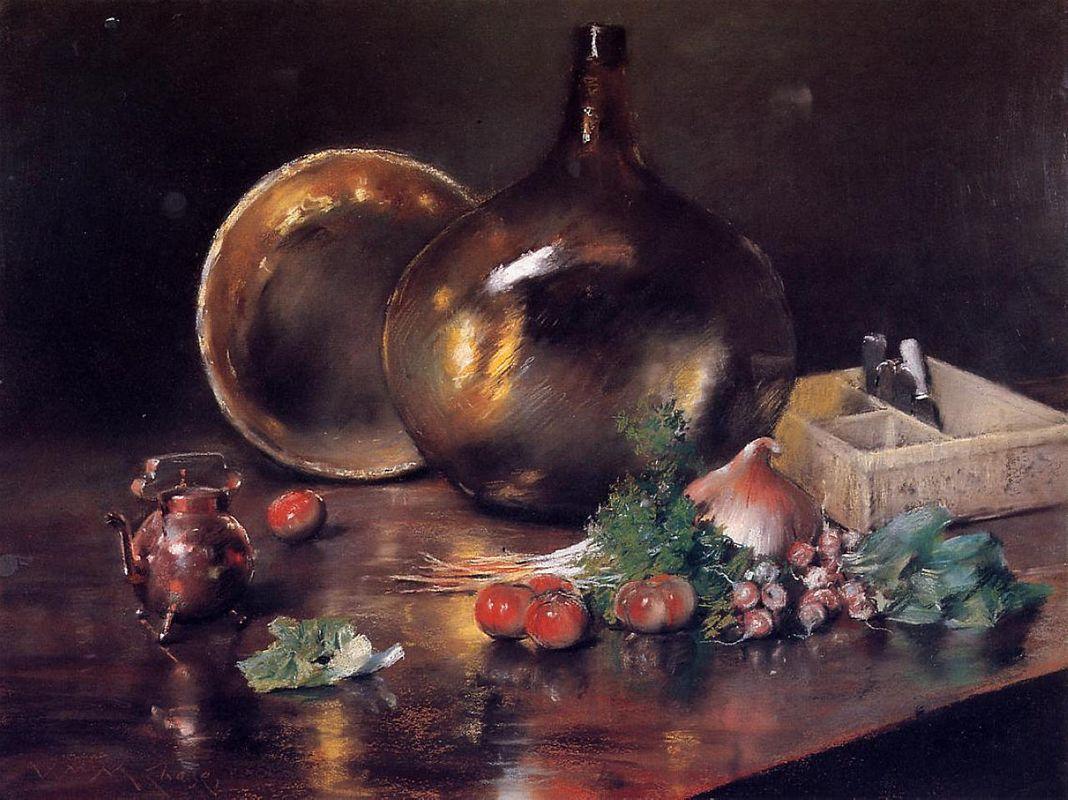 Still Life - Brass and Glass - William Merritt Chase