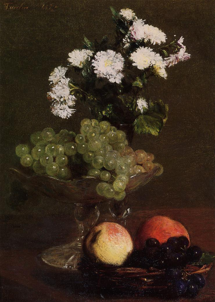 Still Life Chrysanthemums and Grapes - Henri Fantin-Latour