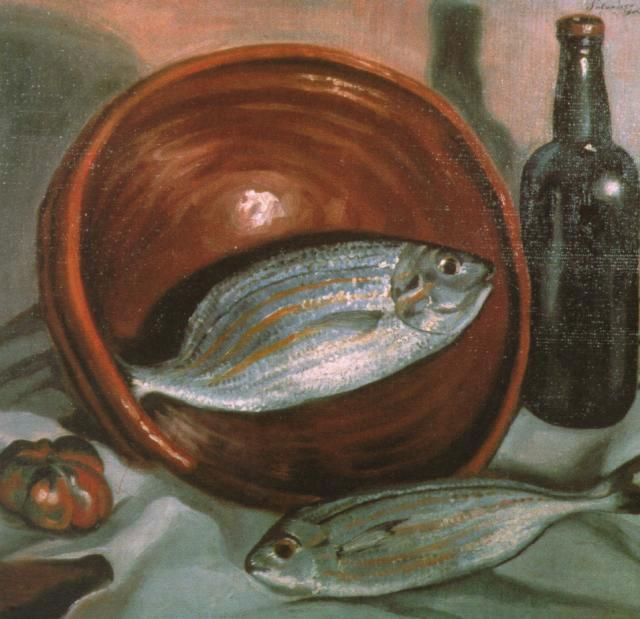 Still Life Fish with Red Bowl - Salvador Dali