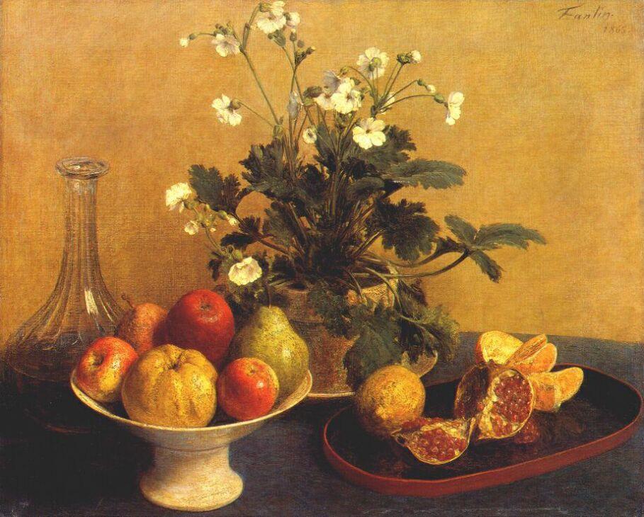 Still life. Flowers, Bowl of Fruit and Pitcher - Henri Fantin-Latour