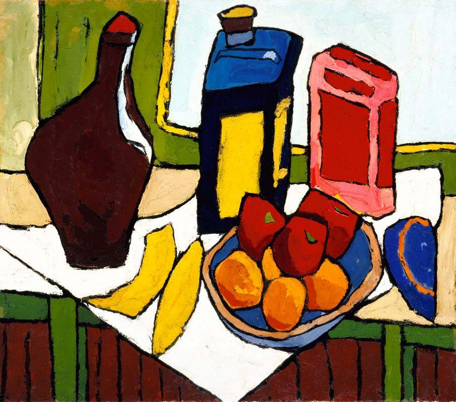 Still Life--Fruit, Bottles - William H. Johnson