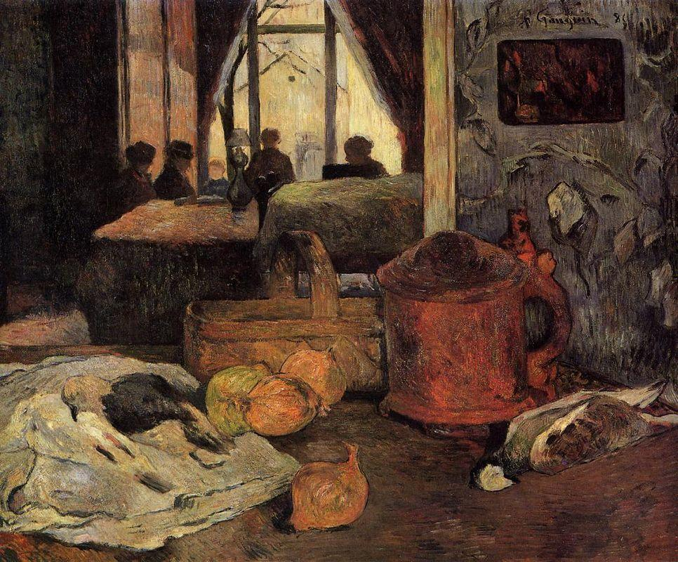 Still life of onions and pigeons and room interior in Copenhagen - Paul Gauguin