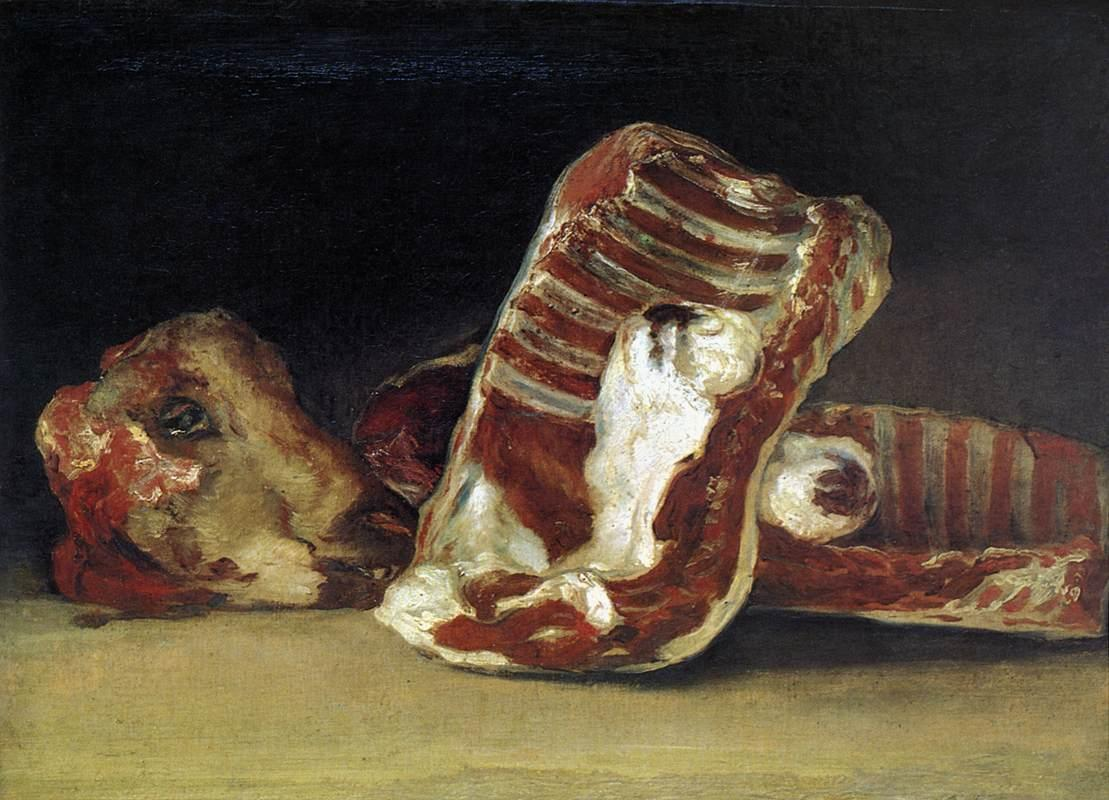 Still life of Sheep's Ribs and Head - The Butcher's conter - Francisco Goya