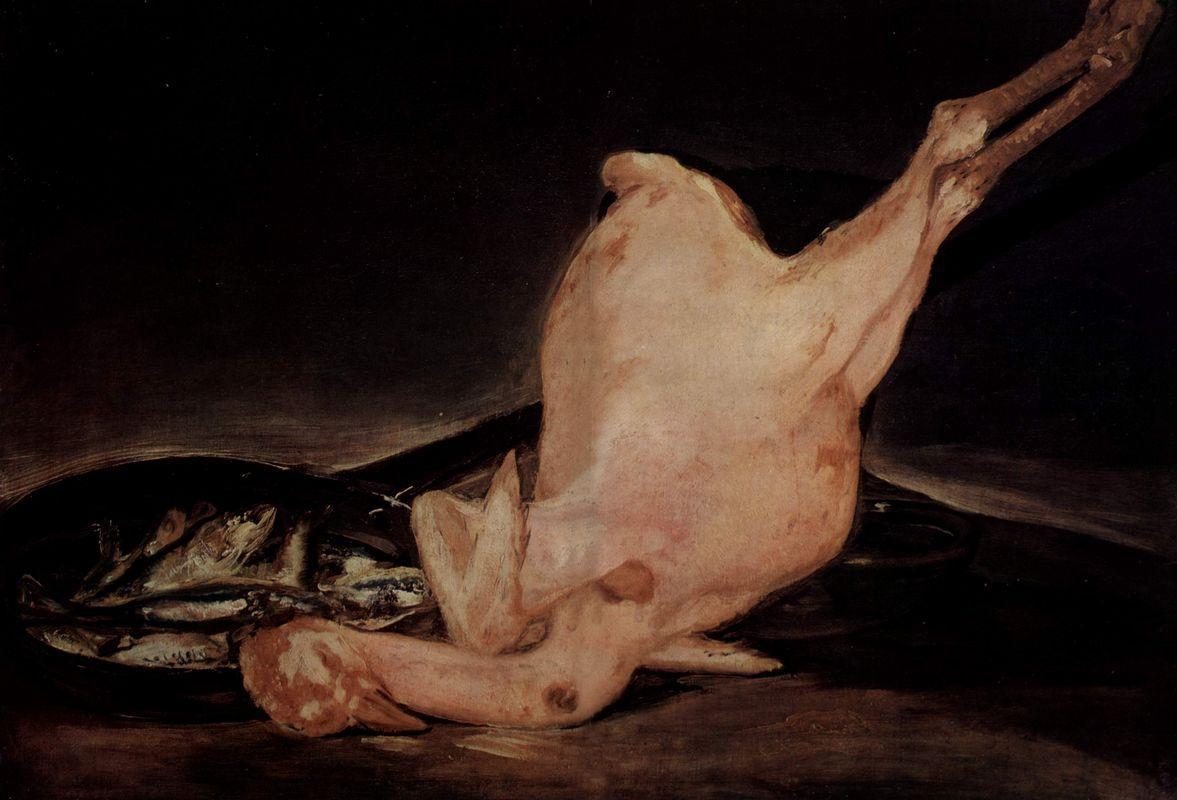 Still life, plucked turkey and pan with fish - Francisco Goya